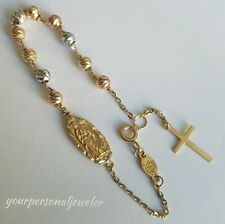 "14k Solid 3 color Yellow Gold Rosary Beads virgin Mary Cross bracelet 6.5-7"" lng"