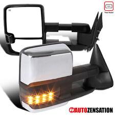 For 2003-2007 Silverado Sierra Chrome Power Heated Tow Mirrors+Smoke Led Signal