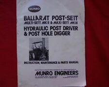 Munro Multi sett Maxi sett Post borer driver Owners, operators Parts manual book