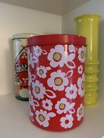 vintage 1980's storage tin Flower Power Kitchenalia Florals Bright Colours
