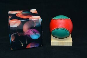 Vintage Spinneybeck Leather Baseball Collectible Red Green in Box Christmas