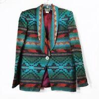 Coldwater Creek Vintage Blazer Jacket Southwestern Aztec Blue Green Sz Small S
