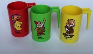Set of 3 Vintage Walt Disney Snow White & Seven Dwarfs Plastic Cups With Handles