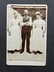 Victorian Cabinet Card: Servants Maids Aprons Smiles