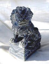 Vintage Hand Carved Marble/Stone Foo Dog/Lion - Greenish Gray