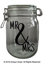 Mr & Mrs Jar Sticker Mr & Mrs candle/jar sticker - vinyl sticker - Wedding Gift