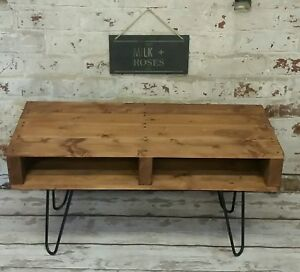 Rustic, retro vintage handmade coffee table with black hairpin legs