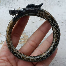 Superb Golden Black Akar Bahar Dragon Carved Bangle Genuine Coral Bracelet #05
