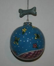 PAMPERED PETS Dog Blue Christmas Ornament Dog Bone Dogs Hand Painted Roman Inc