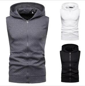 Men Youth Casual Sleeveless Zip Up Hooded Sweatshirt Sport Hoodies Vest Coat SKG