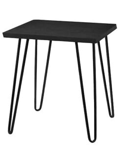 Black Oak Look  Side Table With Steel Industrial Style Legs