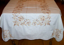 Stunning Vintage Tablecloth, Cross Stitch Embroidered, Autumn Colors, Ex. Cond.