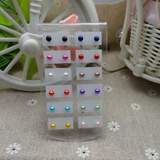 12 Pairs/Pack Round Artificial Pearls Ear Stud Ball Earrings Gift