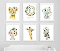 Pink Floral Jungle Animals Art Custom Monogram Nursery Prints Set of 6 621-A