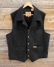 Panhandle Slim Powder River Outfitters Dark Gray Wool Cowboy Vest Size XL