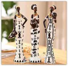 One Set of 3pcs Exotic African Tribal Woman Resin Figurine, Hand-Painted Statue