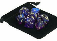 New Chessex Polyhedral Dice with Bag Royal Purple Borealis 7 Piece Set DnD RPG