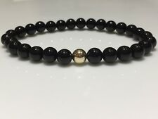 Mens Bracelet 9ct Gold & Onyx Gemstone Beads Custom Fit