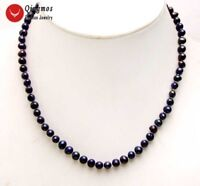 """5-6mm Black Round Natural Freshwater Pearl Necklace for Women Chokers 17"""" n6205"""