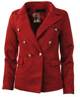 Womens Faux Suede Gold Button Double Breasted Military Style Plain Ladies Blazer