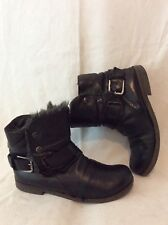 Buffalo Black Ankle Leather Boots Size 38