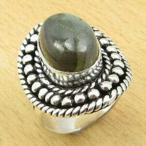 925 Silver Plated Genuine LABRADORITE Ring Size 6.25 BEAUTIFUL New Jewelry India