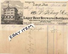 1881 P KLING & CO. LAGER BEER brewery BOTTLERS pre pro BILLHEAD Detroit MICHIGAN