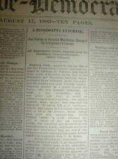 1883 newspaper NEGRO MAN LYNCHED at OAKLAND in Yalobusha County MISSISSIPPI