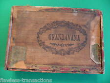 GRANDAVANA Vintage Antique Empty Hand Made Wooden Humidor Trimmed Cigar Box