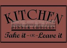 KITCHEN DINNER CHOICE Vinyl Wall Saying Lettering Quote Art Decoration Decal