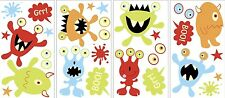 GLOW in the DARK MONSTERS 27 Big Wall Decals SCARY EYES Room Decor Cute Stickers