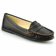 Ladies Womens New Leather Flat Casual Slip On Moccasin Loafers Pumps Shoes Size