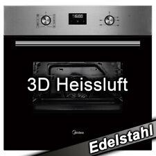 Einbau Backofen autark 3D Heißluft Grill Edelstahl Uhr Timer Display 60 cm Midea