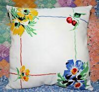 Vintage Wilendur Rosemead Floral Cherries Farmhouse Tablecloth Throw Pillow