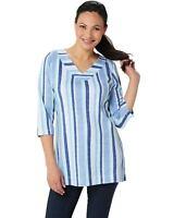Denim & Co. Womens Petite 3/4-Sleeve Striped Tunic Large Blue Multi A354146