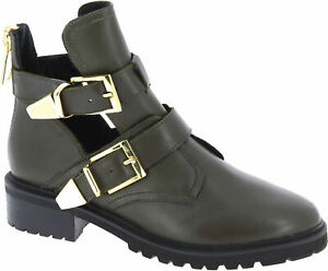 Steve Madden Loft Kaki Women's ankle boots with buckles and zip in kaki leather
