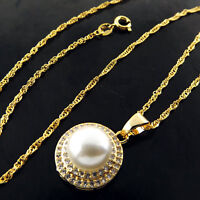 Pearl Pendant Necklace Chain 18k Yellow Gold G/F Ladies Diamond Simulated Design