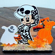 "DISNEY SKELETON MICKEY WOODEN HALLOWEEN DECORATION 8.5"" table decor rare 2019"