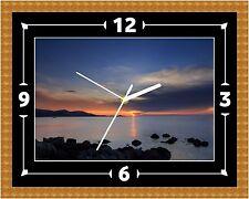 Reloj De Pared Puesta de Sol Lago Rock Presente Navidad Cumpleaños (personalizable)