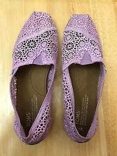 TOMS Women's Size 9 Purple/Lavender Eyelet Lace Floral Flats Shoes