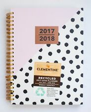 Clementine Paper Planner Monthly Weekly 2017-2018 Agenda Spiral Polka Dot