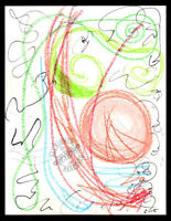 Mad'Stract 2015 Signed ABSTRACT original DRAWING pastel crayon on Paper URBAN