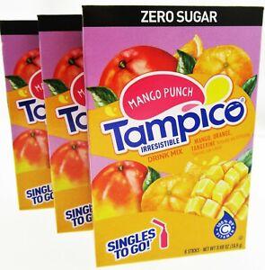 Tampico ~ Packets ~ Sugar Free ~ Drink Mix ~ Lot of 3 ~ Mango Punch