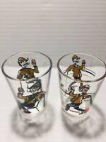 Vintage Mid Century 1 oz Set of Two Shot Glasses / See Pictures