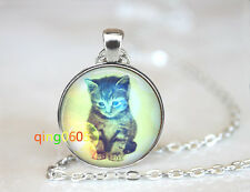 Dreamy Kitty Cat glass dome Tibet silver Chain Pendant Necklace wholesale