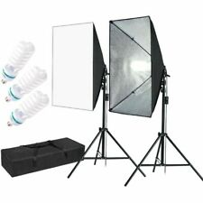 Photo Equipment Studio Softbox for Portrait Video and Shooting with 3 Bulbs