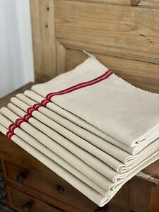 Antique French DEADSTOCK LOT pure linen TEA TOWELS kitchen cloth c1900
