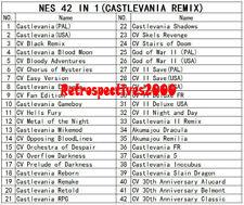 42 In 1 Nintendo NES Games Cartridge Castlevania Remix 16BIT 72PIN