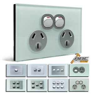 SAA Approved Electrical Wall Power Point GPO Glass Switch Panel Outlet 10A 250V