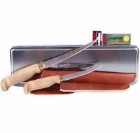 """MARTTIINI 4"""" & 6"""" Fisherman's Knives & Leather Sheath Set + Bonus Lure Tin Box"""